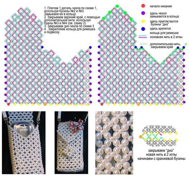 Схемы вязания крючком из бисера чехол для